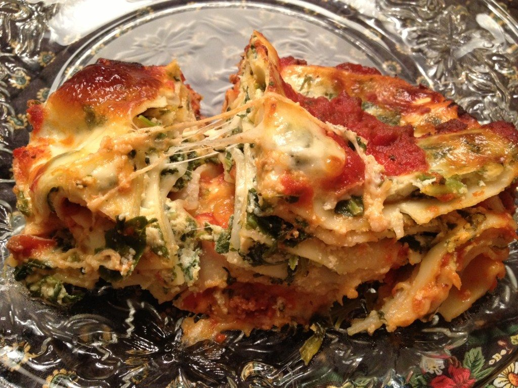 Delicious lasagana (and salad, unpictured) for dinner at Lee's parents