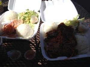 Then we got lunch plates, a popular item in Hawaii