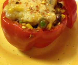 a stuffed red pepper