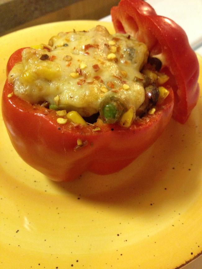 a stuffed red pepper