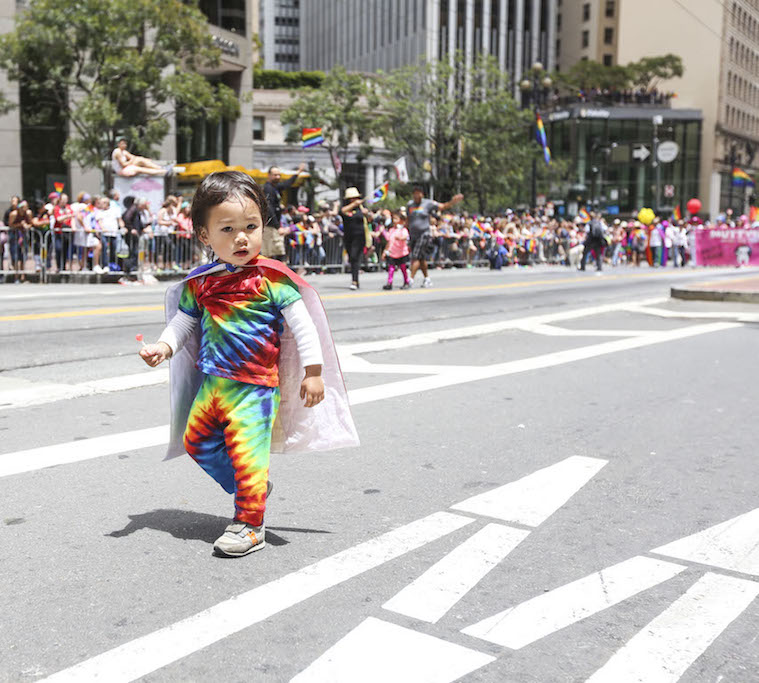Around one hundred thousand people gathered to celebrate on Market St., starting on the corner of Beale and ending on the corner of 8th, for the 45th annual Pride Parade in San Francisco. Sunday June 28, 2015. (Special to S.F. Examiner/Natasha Dangond)